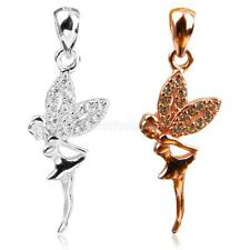 925 Sterling Silver Crystal Necklace Pendant Flying Angle Jewelry Gift for Girls