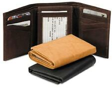 NEW! Western Leather Tri-Fold Wallet - Black Brown Tan
