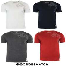 Crosshatch Mens New Casual Graphic V Neck T Shirt Lightfeet White Navy Red BNWT