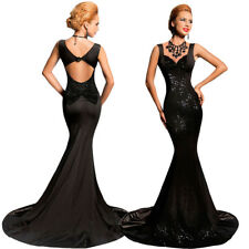 Sexy Sleeveless Sequin Mermaid Maxi Formal Gown Wedding Party Evening Long Dress