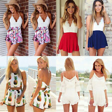 Women Casual Off Shoulder Strappy Mini Dress Jumpsuit Shorts Romper Playsuit
