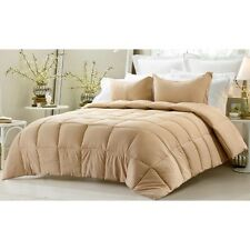 3PC REVERSIBLE SOLID EMBOSS STRIPED COMFORTER SET- OVERSIZED OVERFILLED KHAKI