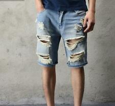 Mens Shorts Vintage Korean Casual Punk Ripped Hole Washed Denim Jeans Size New