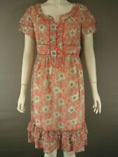 BNWT KALIKO KNEE LENGTH SHORT SLEEVED BUTTONED CORAL DRESS SIZES 8-20 RRP £60
