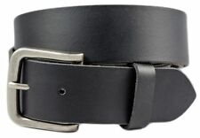 Full Grain Solid 1-Piece Leather Belt w/ Silver Finish Buckle - Black