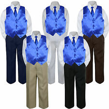 4pc Royal Blue Vest & Tie  Suit Set Baby Boy Toddler Kid Uniform S-7