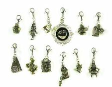 Alice in Wonderland Mad Tea Party Cheshire Cat White Rabbit Swivel Clasp Charms