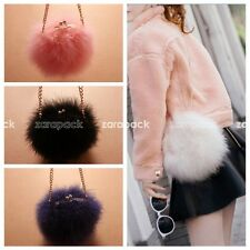 Designer Small Fluffy Genuine Feather Round Clutch Fur Bag Women Shoulder Bag