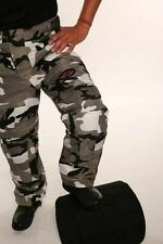 """CT-1002 Grey Camo Camouflage Waterproof Armoured Motorcycle Thermal Trousers 36"""""""