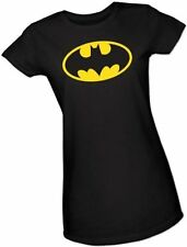 Juniors Black DC Comics Super Hero Gotham City Batman Yellow Logo T-shirt Tee