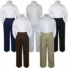 3pc White Bow Tie Suit Shirt Pants Set Baby Boy Toddler Kid  S-7