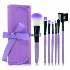 7 Pcs Pro Makeup Eyeshadow Blush Brush Cosmetic Set Kit + Leather Case New LM