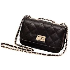 Women Leather Quilted Chain Satchel Crossbody Shoulder Bag Handbag Purse LM