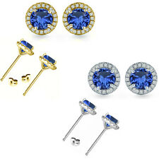 6mm Sapphire Birth Gem Stone Stud Halo Solitaire Round Silver Pair Earrings