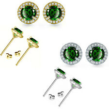 6mm Emerald Birth Gem Stone Stud Halo Solitaire Round Silver Pair Earrings