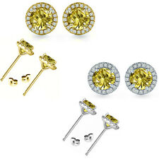 6mm Citrine Birth Gem Stone Stud Halo Solitaire Round Silver Pair Earrings