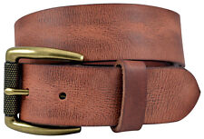 Vintage Full Grain Buffalo Leather Belt w/ Brass Roller Buckle - Cognac (Tan)