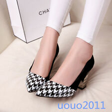Womens Pointed Toe Multi Colour Block Heel Pumps Slip On Casual Shoes Plus Size