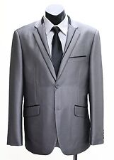 NEW MENS GREY SHINY SLIMFIT SUIT JACKET WITH TROUSER PANTS