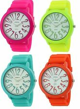 NEW GENEVA NEON LARGE DIAL,FACE & NUMBERS WITH SILICONE BAND WATCH