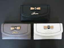NEW GUESS KADE BLACK+TAUPE+WHITE STUD BOW LEATHERETTE CHECKBOOK WALLET,CLUTCH
