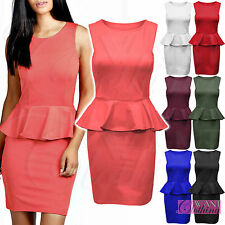 NEW WOMENS PEPLUM FRILL DRESS SLEEVELESS LADIES TAILORED DRESSES BODYCON SKIRT