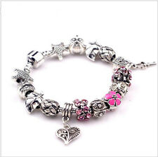 New Trendy European silver Plated Beads Bracelets & Bangles charms jewelry