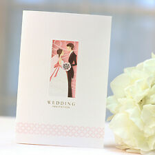 50 Wedding Invitations White Pink Pearl Paper Laser Cut Cards Free Seals GM111
