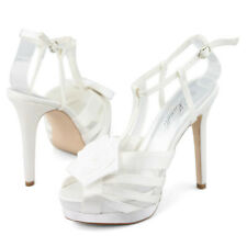 Womens white wedding dress party shoes ankle straps high heels sandals size AU