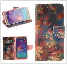 Vintage Floral Print PU Leather Stand Card Slot Wallet Case Cover For Cell Phone
