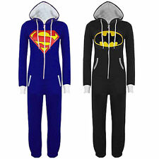 Men Pajamas Superman Batman Jumpsuit Jacket Nightwear Hoodie Jumper Costume