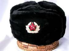 RUSSIAN BLACK MILITARY WINTER USHANKA HAT WITH SOVIET BADGE!!! ALL SIZES!!!
