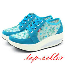 Womens Wedge Heel Platform Floral Lace Up Creeper Tennis Sneaker Casual Shoes Sz