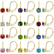 1 Ct Gem Birth Stone 6mm Round CZ Lever Back Dangling 14K Yellow Gold Earrings