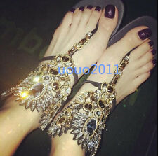 Womens Flats Thong Rhinestones Real Leather Roma Sandals slipper Party Shoes Sz