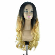 "14-24"" Front Lace Wigs Body Wave Synthetic Ombre Piano T Color Full 0M1B27"