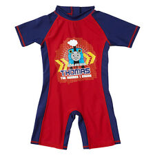 Boys Thomas & Friends One Piece Summer Sunsafe Swimsuit UPF40+ Navy Red 1-6yrs