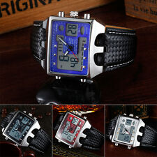 New Fashion Men's OHSEN LCD Date Digital Sport Quartz Black Leather Wrist Watch