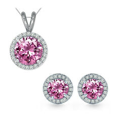 6mm Round CZ Pink Topaz Gem Birth stone Halo Pendant Earring Set Sterling Silver