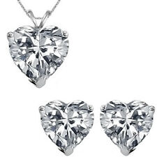 6mm Heart Cubic Zirconia Gemstone Pendant Earring Set 14K White Yellow Gold