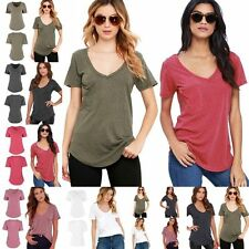 Women Ladies Casual Cotton Short Sleeve Loose Basic Tee T-shirt Solid Top Blouse