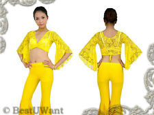 BELLY DANCE Flare Bell Pants Lace Tie Top 2pcs Costume * GOLD COLOR *