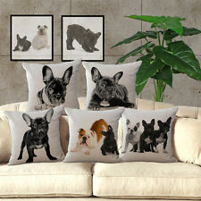Cute Pillow Case French Bulldog Cotton Blend Office Bed Cushion Cover Home Decor