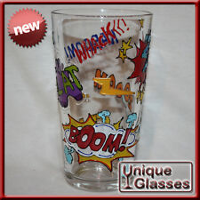 Hand Painted Personalised Comic Slang Super Hero Pint Glass - ADD YOUR NAME!