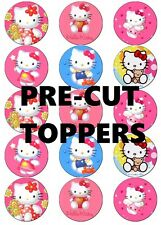 HELLO KITTY V1  PRE-CUT EDIBLE WAFER PAPER TOPPERS CUPCAKES CAKE