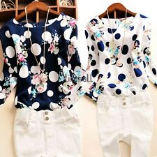 Korean Women Lady Polka Dot Floral Casual Office  Long Sleeve O-Neck Top LM