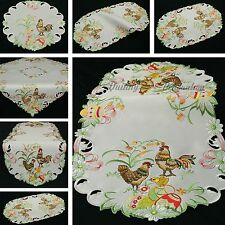 Easter Table runner Doily Tablecloth White Hen Chicken Cock Egg Embroidery NEW