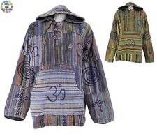 Cotton Multicoloured Pullover Patchwork Fleece lined Hippy Jacket XLarge