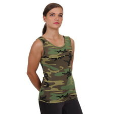 Womens Ladies Woodland Hunting Army Camo Stretch Form Snug Fit Tank Top Shirt