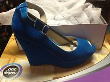 new Isabella Brown cisco bright blue wedge high heel shoes womens size 5
